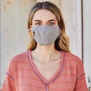 Unisex Checkered Pattern Filter Insert Face Mask
